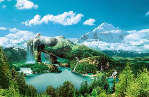 Обои Огромная девушка - олицетворение природы, ее тело земля и горы, ее волосы - водопад, над ней пушистые облака