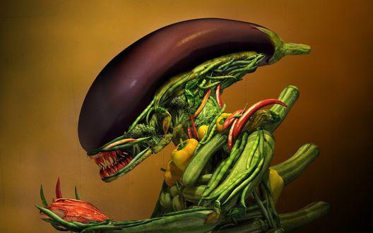 Обои Чужой сделанный из овощей, баклажанная голова, в руках мясо