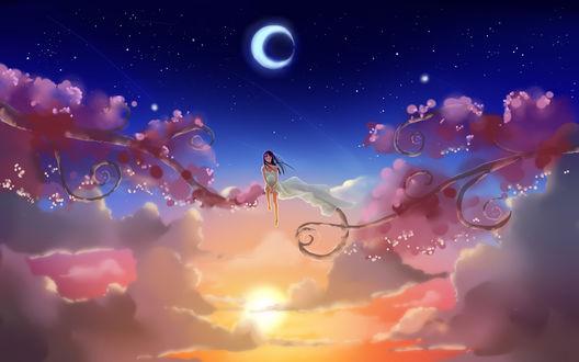 Обои Девушка сидит на ветке дерева над облаками между луной и солнцем