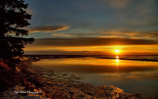 Обои Восход на реке Кенай, полуостров Кенай, Аляска / Kenai, Alaska, фотограф Кайл Уотерс / Kyle Waters