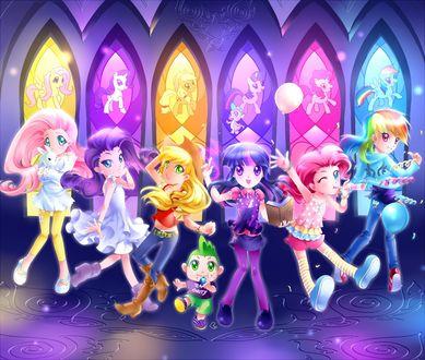 Обои Персонажи мультсериала Мой маленький пони: Магия дружбы в стиле аниме / My Little Pony: Friendship is Magic in anime style
