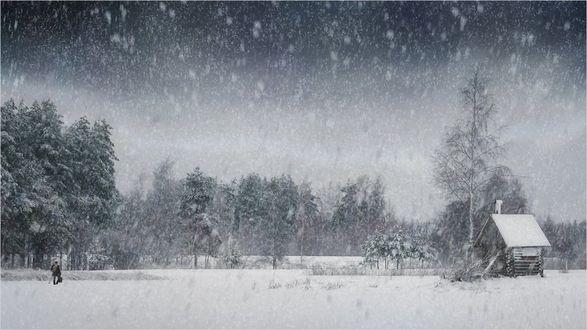 Обои Человек идет к дому под сильным снегопадом