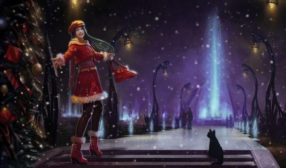 Обои Девушка поднимается по ступенькам, на фоне ночного неба и падающего снега, рядом сидит черный кот