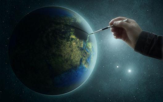 Обои Человек разрисовывает земной шар, Art In The World / Искусство в мире, Telma Rocha (Tsukiko100)
