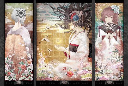 Обои Три девушки в стиле аниме, арт от Toy