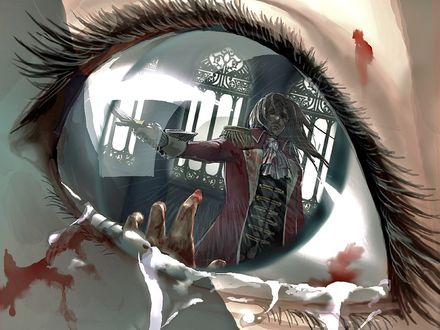 Обои Мужчина с мечом отражается в зрачке у девушки на которую он нападает, Her last chance / Ее последний шанс, художница Cindy (KahlanAmnell123)