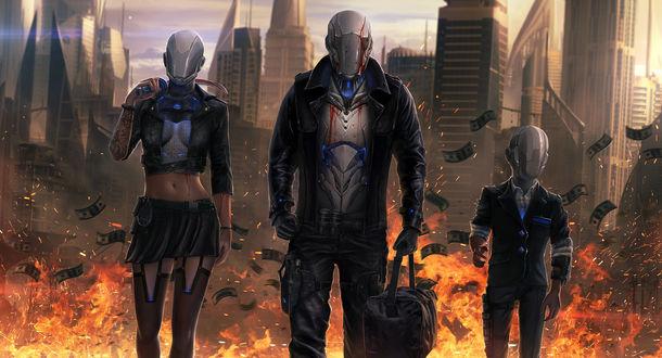 Обои Девушка, мужчина и ребенок в железных шлемах уходят из горящего города