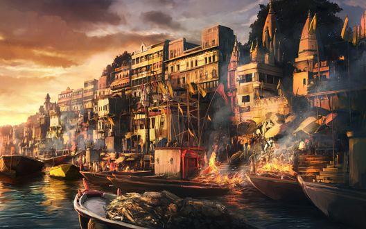 Обои Вечерний город в огне