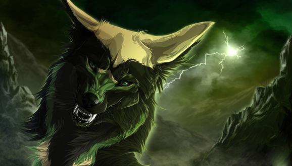 Обои Оскал волка в свете ярких молний, мультфильм Wolfs Rain / Волчий дождь