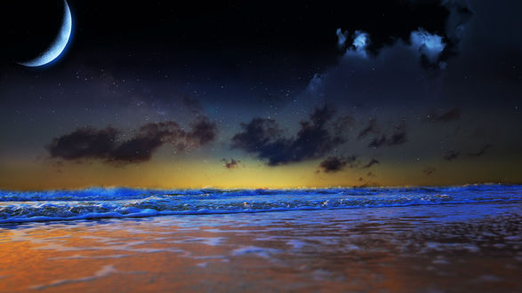 Обои Ночное небо с луной над морскими волнами