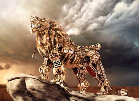 Обои Лев - робот стоит на скале, художник Kevin Hays
