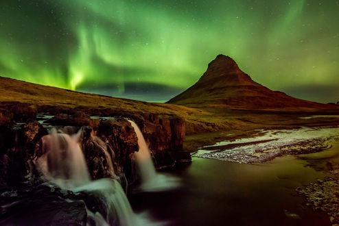 Обои Северное сияние, Исландия / Iceland