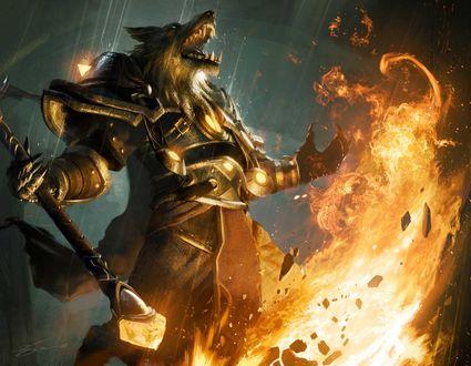 Обои Ворген вызывает пламя / арт к игре world of warcraft