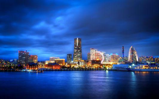 Обои Вид на ночной город Йокогама, Япония / Yokohama, Japan