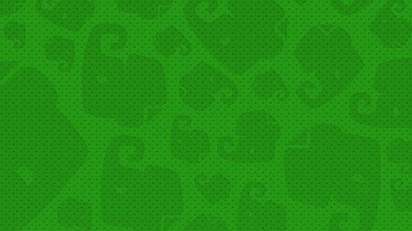 Обои Зеленая текстура из геометричных силуэтов слонов