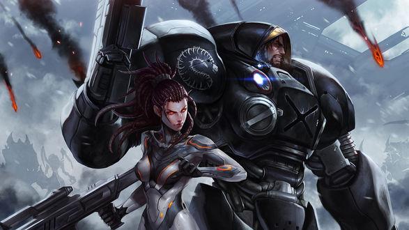 Обои Мужчина и женщина, персонажи из игры StarCraft II