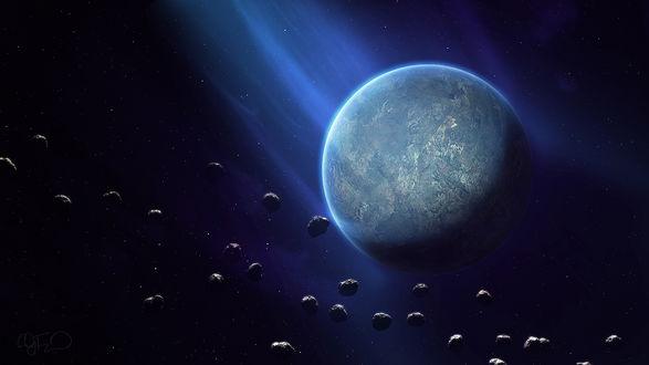 Обои Планета в окружении метеоритов во Вселенной, художник Cody Fitzgerald