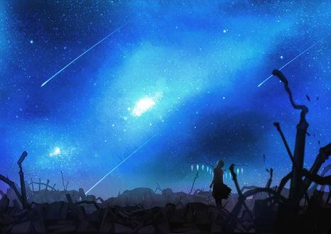 Обои Flandre Scarlet / Фландр Скарлет из Тохо / Touhou Project, ночью, стоя на руинах, любуется звездопадом