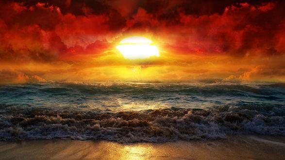 Обои Удивительный закат над пенящимся морем