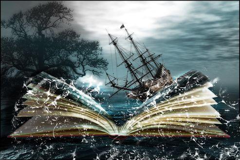 Обои Корабль в книге на фоне неба и дерева