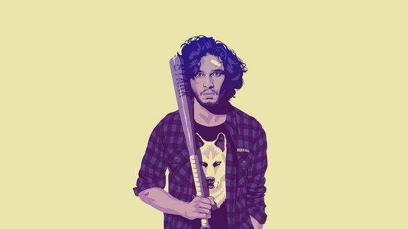 Обои Арт на Jon Snow / Джона Сноу, чью роль исполняет Кит Харингтон / Keith Harrington, в сериале Game of Thrones / Игра престолов, держит в руках биту, в футболке с изображением морды волка