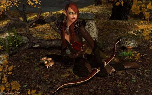 Обои Девушка-эльфийка, держащая в руке лук, за поясом у нее колчан со стрелами, сидящая на пожухлой траве возле поваленного ствола дерева, в окружении диковинных грибов