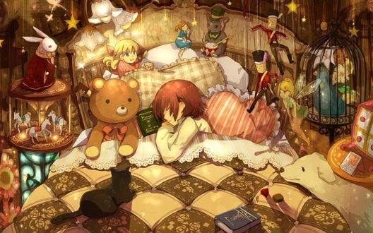 Обои Девушка спит в кровати, рядом лежит плюшевый мишка, кукла, на кровати лежит книга, кошка, рядом с кроватью сидит собака и стоит много игрушек