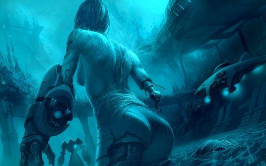 Обои Девушку-киборг стоит в воде под дождем в окружении врагов