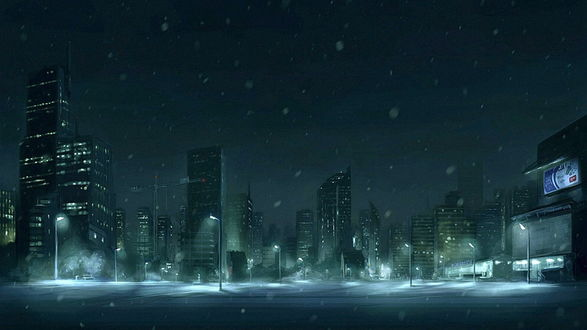 Обои Снегопад в ночном мегаполисе