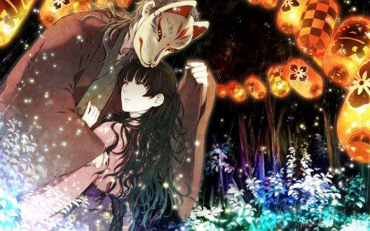 Обои Парень в маске волка обнимает девушку на фоне цветов и китайских бумажных фонариков