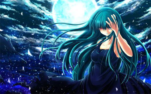 Обои Девушка с глазами разного цвета на фоне полной луны и ночного неба