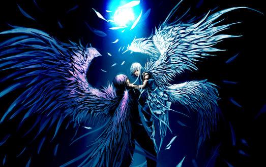 Обои Ангел парень и ангел девушка в луче света