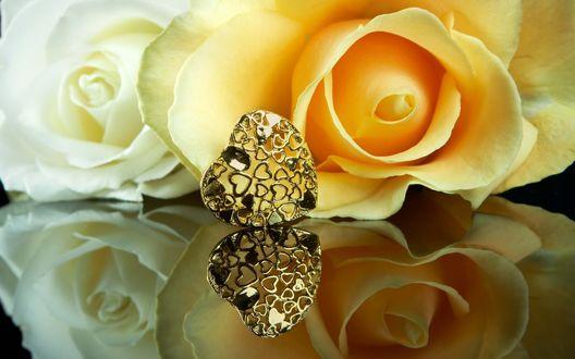 Обои Кремовая и белые розы, лежащие на отражающей поверхности рядом с золотым кулоном в форме сердечка и состоящего из большого количества маленьких сердечек
