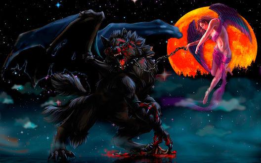 Обои Ангел держащий на цепи демона