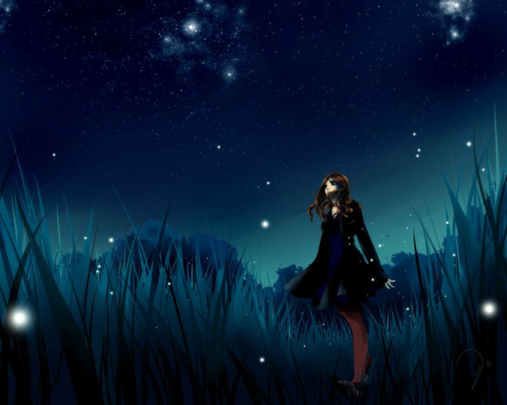 Обои для рабочего стола Девушка в высокой траве, в которой летают светлячки, на фоне звездного неба