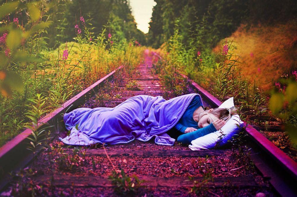 Обои для рабочего стола Девушка спит на железных путях, по краям дороги густе заросли и цветы