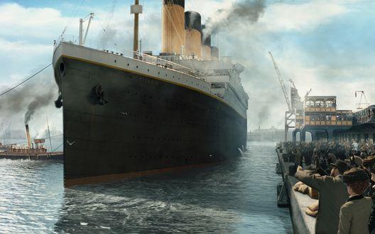 Обои Отплытие лайнера Титаник / Titanic