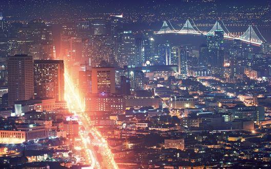 Обои Оживленная дорога в крупном ночном мегаполисе