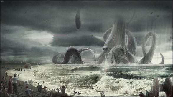 Обои Люди пытаются вытащить из воды огромное морское животное, похожеге на осьминога, работа триумф автора Eugene-Siryk