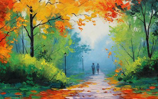 Обои Два ребенка идут по дороге, засыпанной осенними листьями