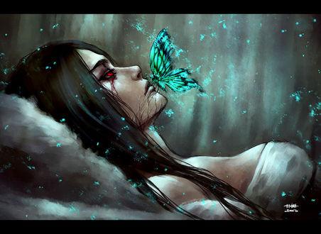 Обои Красноглазая девушка и сияющая бабочка на ее губах, art by nanfe