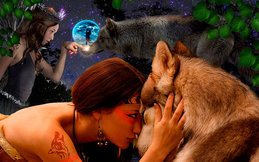 Обои Девушка обнимает волка с феей очаровывающей волка на фоне ночного неба и березовых листьев