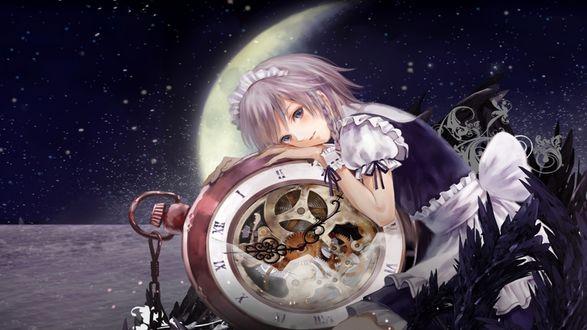 Обои Горничная Сакуя Изаеи / Sakuya Izayoi из игры Тохо / Touhou project, приобнявшая часы на фоне звездного ночного неба с вышедшей луной в форме полумесяца