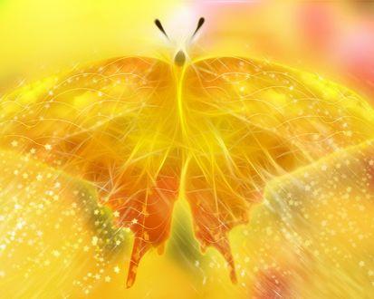 Обои Желтая абстракционная бабочка