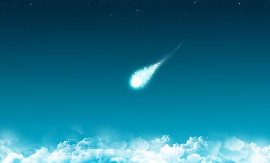Обои Комета на фоне неба и облаков