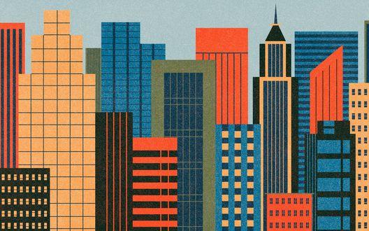 Обои Город с разноцветными зданиями на фоне неба