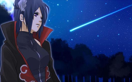 Обои Конан Хаюми|Konan Haumi из аниме Наруто|Naruto стоит смотрит на ночное небо