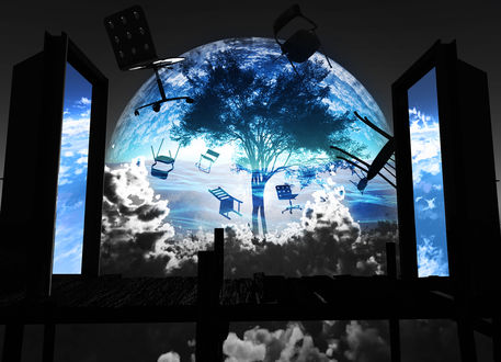 Обои Большое дерево под куполом в облаках, вокруг которого летают стулья