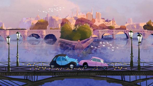 Обои Голубая и розовая машина на мосту на фоне красивого здания, эскиз мультфильма Тачки 2 / Cars 2