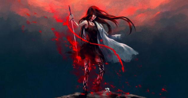 Обои Девушка в темном платье с мечом в руках стоит на фоне красно-серого неба